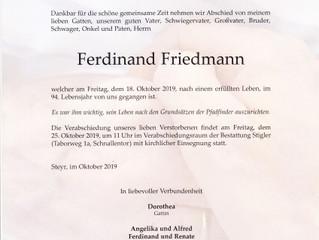 Verabschiedung von Ferdinand Friedmann
