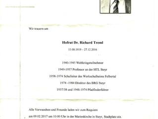 Wir trauern um Hofrat Dr. Richard Treml