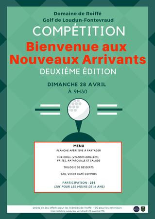 """RAPPEL: Dimanche 28 avril: Compétitions """"Bienvenue aux nouveaux arrivants""""."""