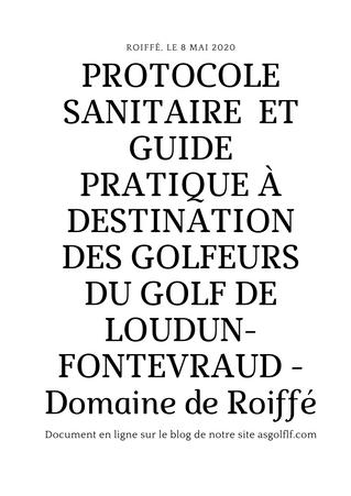 Protocole Sanitaire et Guide Pratique à destination des Golfeurs du Golf de Loudun-Fontevraud - Doma