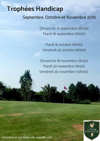 Trophées Handicap de septembre, octobre et novembre 2018.