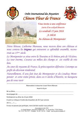 L'AS vous informe: Conférence au Château de Monpensier le 15 juin à 18h30.