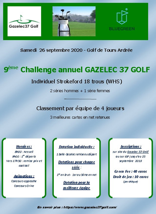 Invitation 9ème challenge annuel Gazelec 37 Golf
