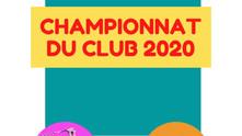 Résultats du championnat du club 2020.
