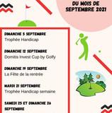 Mise à jour du calendrier des compétitions et compétitions du mois de septembre 2021.