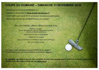 Coupe du Domaine, dimanche 11 novembre.