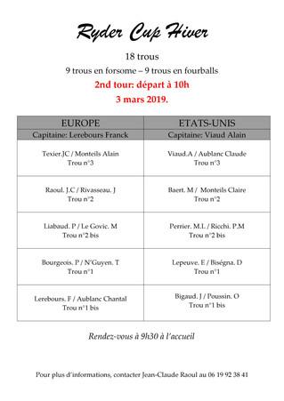 Résultats Tour 1 de la Ryder Cup et organisation du Tour 2.