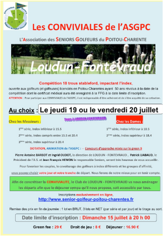 Les Conviviales, Jeudi 19 et Vendredi 20 juillet au Golf de Loudun-Fontevraud.