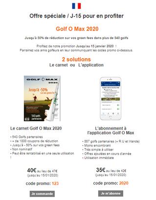 L'AS vous informe : La promo pour le Golf O Max dure encore 15 jours.