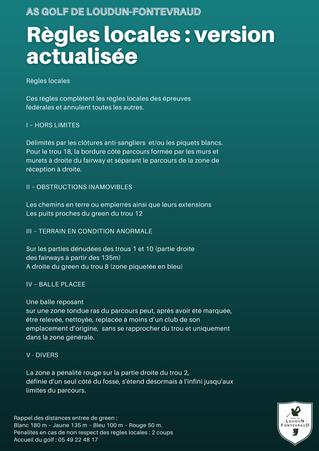 Règles locales : version actualisée.