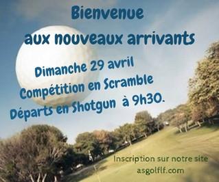 """Compétition """"Bienvenue aux nouveaux arrivants"""" le dimanche 29 avril."""