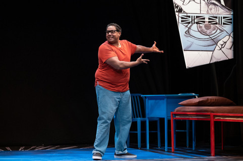 """Stage Production of """"The Brief Wondrous Life of Oscar Wao"""" (Spanish Repertory Theatre)."""