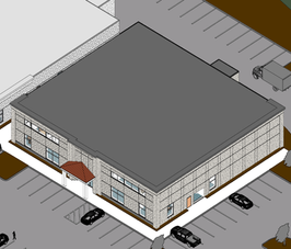 Building 9 - Aerial with roof