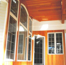 Front porch custom wood paneling