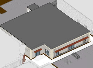Building 8 - Aerial with roof