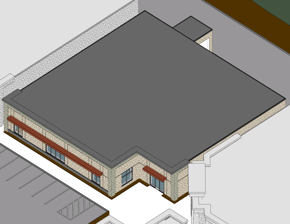 Building 3 - Aerial with roof