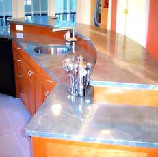 Granite & wood bar island