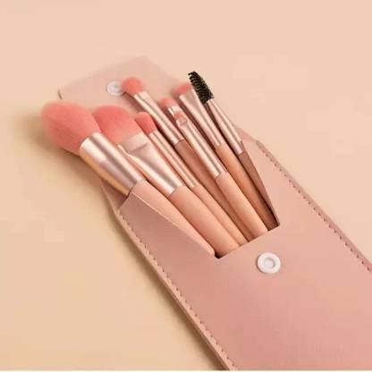 Luxury Beauty Mini Makeup Brush Set 8 PCS with Bag (Orange)  (Pack of 8)
