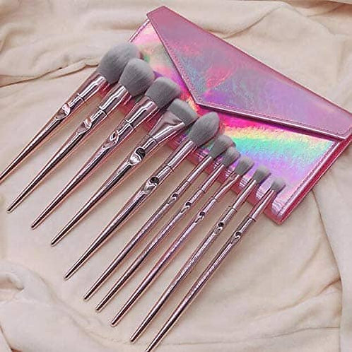 Luxury Beauty Makeup Brush Set 10 Pcs Premium Synthetic Rose Gold cosmetic brush