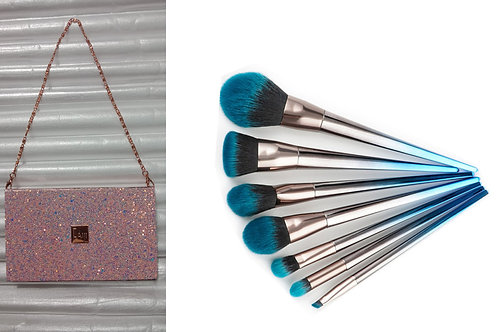 Luxury Beauty makeup brushes set of 7 & eyeshadow palette 18 colors with chain