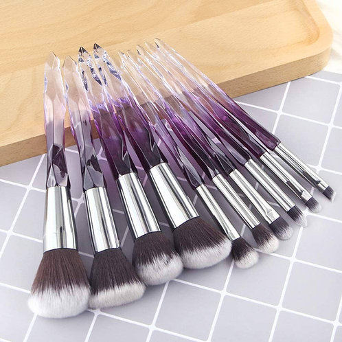 Luxury Beauty Transparent Plastic Handle Essential Make-up Brushes Kit (Purple)