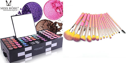 Luxury Beauty Miss Rose Eye Palette148 colors & 15pcs Makeup Brushes (Combo)