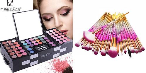Luxury Beauty Miss Rose Eye Palette 148 colors & 20pcs Diamond Makeup Brushes