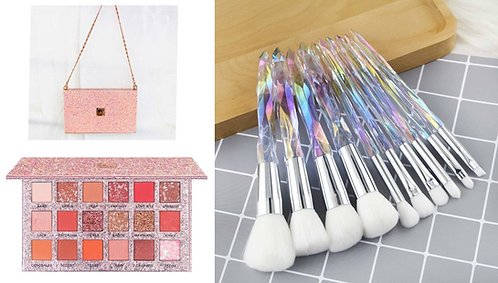 Luxury Beauty Caiji Eye Shadow Palette &10 Piece Essential Crystal Make-up Brush