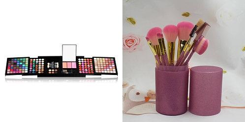 Luxury Beauty Makeup Brush Set 9pcs (Purple) & Makeup palette with 177 colors