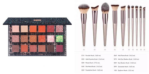 Luxury Beauty Makeup Brushes with Champagne Gold Handle & Eyeshadow palette