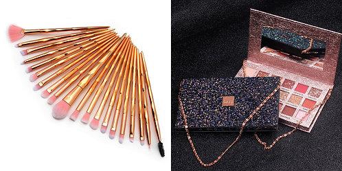 Luxury Beauty Makeup brushes set of 20 & Caiji eyeshadow pallete18 colors(Pink)