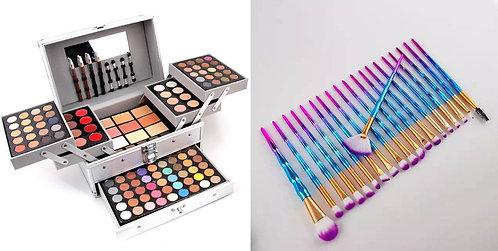 Luxury Beauty Set, 20 Pcs Unicorn Makeup Brushes &  MISS ROSE makeup Palette