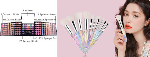 Luxury Beauty Miss Rose eyeshadow palette 177 colors & 10 Crystal Makeup brushes