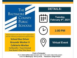 Job Opportunities: School Bus Driver, Cafeteria Worker, Grounds Worker II