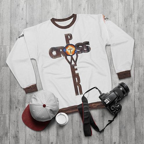 """""""Cross Power"""" Wood Design:  AOP Unisex Sweatshirt"""
