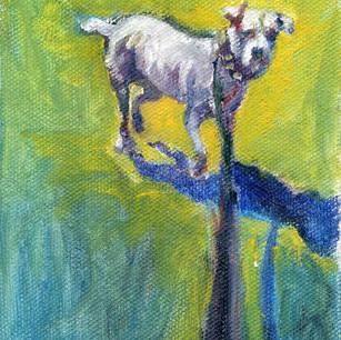 "Seuss In The Rain, Oil on Canvas, 1994, 4 x 6"""