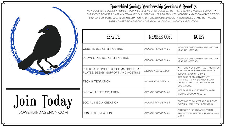 Bowerbird Society Services no cost detai