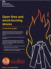 frint cover of the leaflet DEFRA Open fires and wood-burning stoves