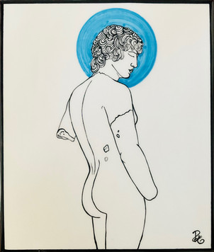 Pietro  Librici, FallenGod With Light Blue Halo, Underglaze ceramic, 24x28 cm.jpg