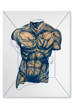 Pietro Librici, Stanza Elastica n. 1 - Torso Maschile Fratturato (Elastic Room n. 1 - Fractured Male Torso), Oil on canvas, 70x90 cm.