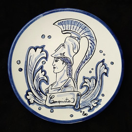 Pietro Librici, Conquista - Plate, Overglaze ceramic, Ø=23 cm.