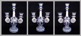 Pietro Librici, 4-Branched Candelabrum Love/Live/Dream, Overglaze ceramic, h=31 cm Ø=22 cm.