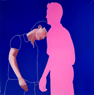 Pietro Librici, Touch Me Now - The Pink Man and I, Oil on canvas, 100x100cm.