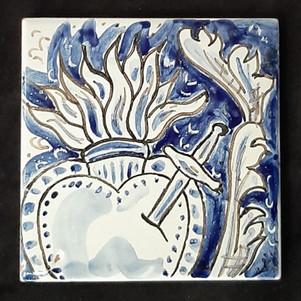 Pietro Librici, Sacred Heart - Tile, Overglaze ceramic, 10x10 cm.