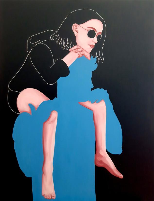 Pietro Librici, Touch Me Now - Hiding, Oil on canvas, 70x90cm.