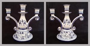 Pietro Librici, 4-Branched Candelabrum Ama/Sogna, Overglaze ceramic, h=25 cm Ø=25 cm.