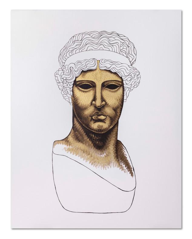 Pietro Librici,  Athena Lemnia Frontale (Frontal Athena Lemnia), Oil on cavas, 100x80 cm.