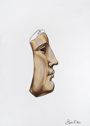 Pietro Librici, Testa n. 4 (Head n.4), Oil on canvas, 70x50 cm.