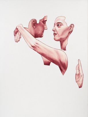 Pietro Librici, Trovarsi (Finding One Another), Oil on canvas, 100x75 cm.