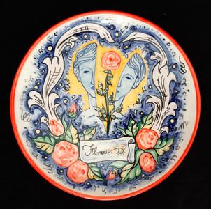 Florere Plate, Underglaze Ceramic, Ø=24 cm.